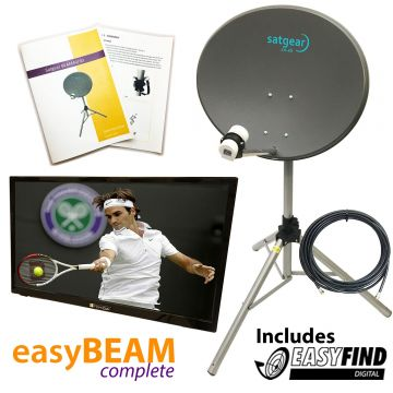"Beam60 Portable Satellite Kit WITH 20"" TV and Satgear's Easyfind"