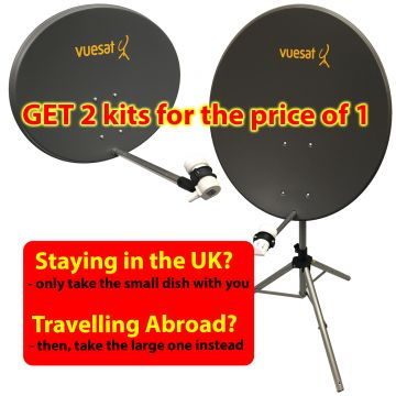 Portable Satellite Combi Dish Kit for UK and Europe inc both a 80cm and a 60cm Dish with optional 12v Receiver