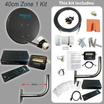 Freesat Zone 1 40cm Satellite Dish Kit including HD Receiver preset with all UK Channels (with Satfinder and cable length options)