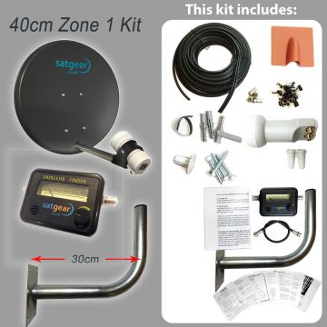 Freesat Zone 1 40cm Satellite Dish Kit with options for Single/Twin/Quad LNB and cable length