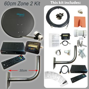 Freesat Zone 2 60cm Satellite Dish Kit including HD Receiver preset with all UK Channels (with Satfinder and cable length options)