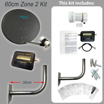 Satgear Zone 2 60cm Solid Dish Kit with Single LNB, Wall Mount and Satfinder