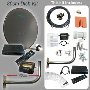 80cm Satellite Dish Kit inc HD Receiver + Fixing Pack + Satfinder + LNB and Cable (length options available)