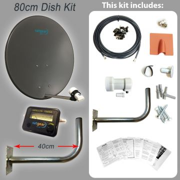 80cm Satellite Dish Kit inc single LNB + Fixing Pack + Satfinder + Cable (length options available)