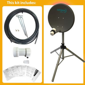 Satgear Economy Portable 40cm Zone 1 Satellite Kit with Tripod and Single LNB