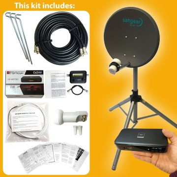 Satgear Beam40 Standard Portable 40cm Zone 1 Satellite Dish Kit with Options for Receiver, Satfinder and SINGLE/TWIN LNB