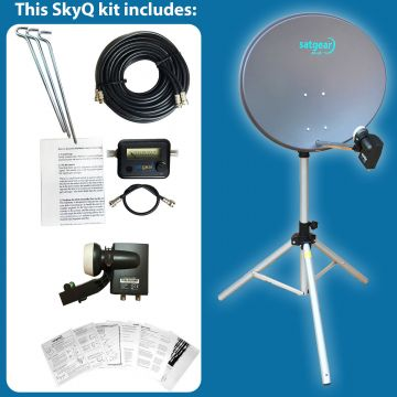 Satgear SkyQ Portable 60cm Satellite Dish Kit with Tripod, Satfinder and Cables plus Sky Wideband LNB