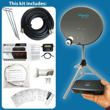 Satgear Beam60 Standard Portable 60cm Zone 2 Satellite Dish Kit with Options for Receiver, Satfinder and SINGLE/TWIN LNB