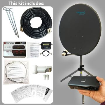 Satgear Beam80 Standard HD Portable 80cm Satellite Kit with Options for Receiver, Satfinder and SINGLE/TWIN LNB