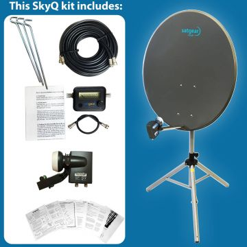 Satgear SkyQ Portable 80cm Satellite Dish Kit with Tripod, Satfinder and Cables plus Sky Wideband LNB