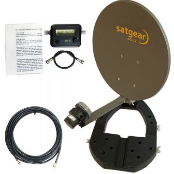 Mini Portable Satellite Dish Kit for Caravan, Lorry, Boat incl. Options for LNB, Satfinder and Cable