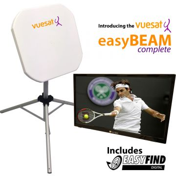 "VUESAT 'EasyBeam Complete 24' Premium Flat Panel Satellite Dish Kit including 24"" LED TV with Easyfind"
